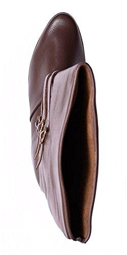 Marrone stivali scuro marrone pelle età media in fibbie stivali colore Medioevale Scuro medievale fAzPxn