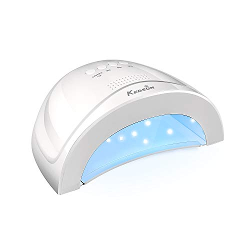 KEDSUM 48W-24W UV LED Nail Lamp with Auto-Sensing and 3 Timers for Quickly Curing Gel Polish at Home and Salon, White