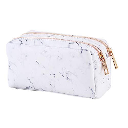 Newest Marble Makeup Bag, Portable PU Cosmetic Toiletry Pouch Organizer Travel Makeup Brush Holder Case Gold Zipper Pencil Stationery Storage Bag With 2 Pockets For Women Girls, 6.7x3.5x3.1 inch