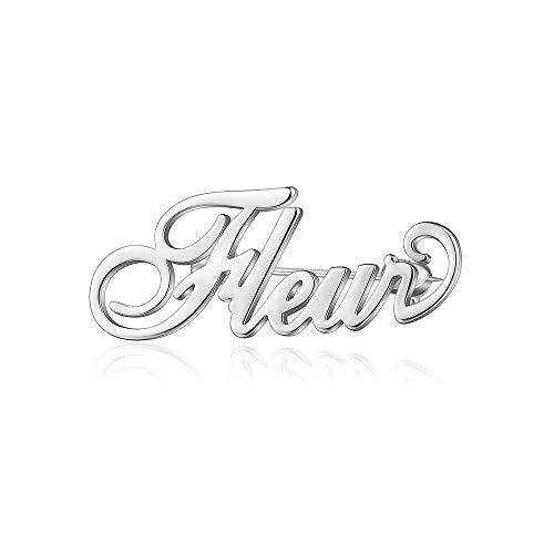 (MANZHEN Personalized Custom Name Brooch Pin Customized Jewelry 3 Colors Brooches for Women (Silver))