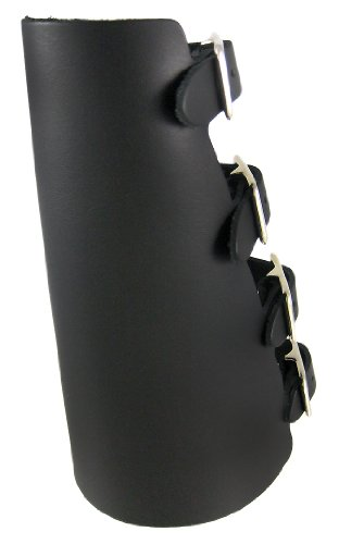 Black Leather 4 Buckle Gauntlet Wristband