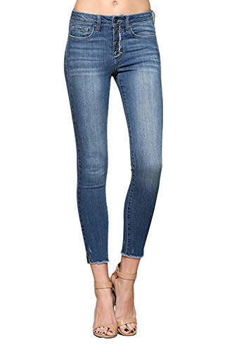 Vervet by Flying Monkey Exposed Button Up Fly Mid Rise Medium Wash Raw Hem Ankle Skinny Jeans VT161 (29)