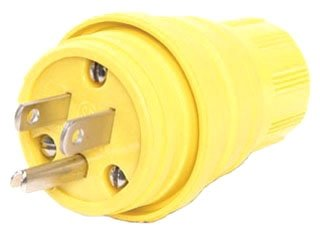 Woodhead 14W47 Watertite Wet Location Straight Blade Plug, 3 Wires, 2 Poles, NEMA 5-15 Configuration, Yellow, 15A Current, 125V Voltage,