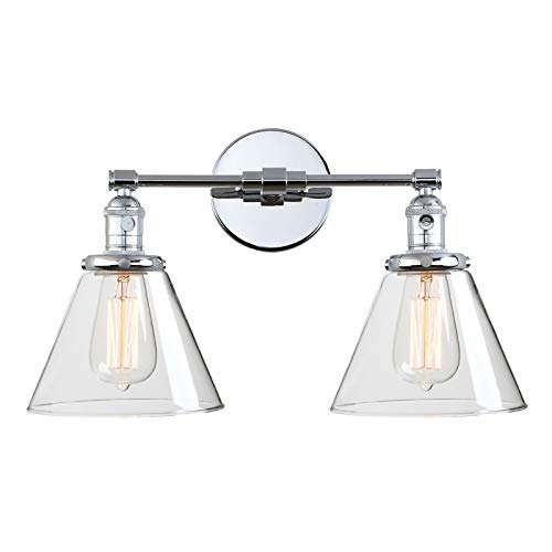 Phansthy 2-Light Wall Sconce Industrial Dual-Light Wall Light with Dual 7.3 Inch Cone Glass Lampshade(Chrome)