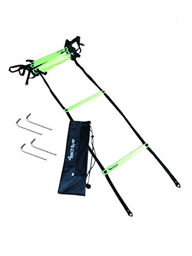 4Active Speed and Agility Training Ladder 8 Adjustable Rungs 15 Feet Including Ground Anchors and Carrying Bag (Green)
