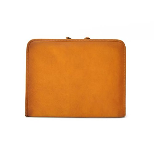 Pratesi Unisex [Personalized Initials Embossing] Italian Leather Dante Portfolio Notepad Holder in Cognac by Pratesi