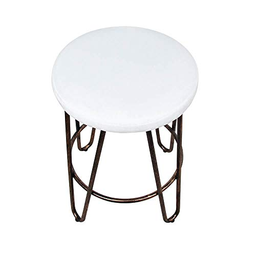 CANDIKO White & Bronze Round Makeup Vanity Chair Velvet Upholstered Metal Stool Bedroom Iron Room Bench Bathroom Ottoman with Footrest Ring - Small