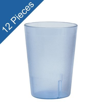 Plastic Tumblers, Shatter Proof Cups, For Restaurant, Lunchroom, Cafeteria, Bar - Pack of 12 (8 oz, Blue)