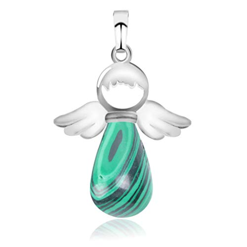 Natural Stone Angel Wings Pendant For Necklace Pink Quartz Onyx Silver-Color Water Drop Pendants Female Jewelry Gift E949 Malachite
