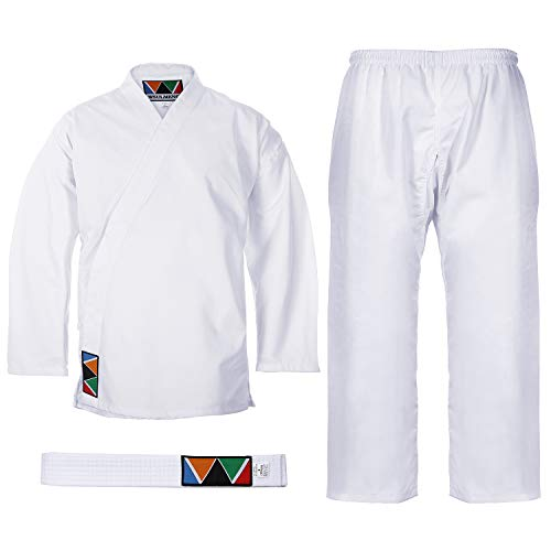 "WSULMENG Sports Karate Uniform for Kids & Adults Lightweight Student Karate Gi Martial Arts Uniform Free Belt (1(4'6"" / 85lbs)) White"