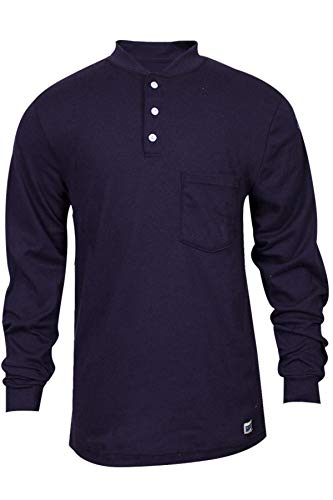 National Safety Apparel C54PIBSLSSM FR Classic Cotton Long Sleeve Henley, 100% FR Cotton, Small, Navy by National Safety Apparel Inc (Image #1)