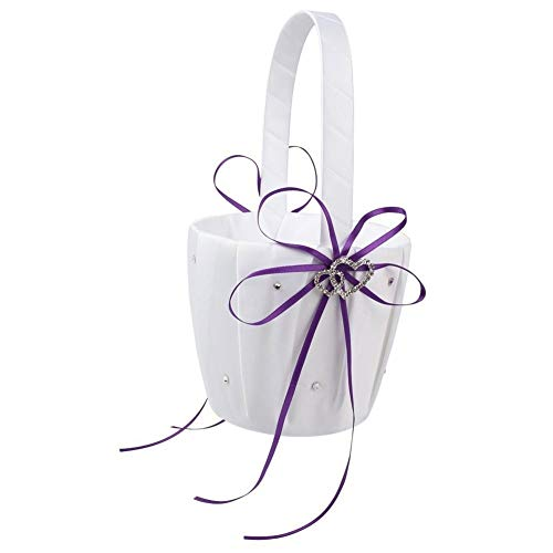 Flower Basket Inlaid Bowknot Pattern Double Hearts Faux Rhinestone Basket for Wedding 3 Color Basket - White & Purple qsbai ()
