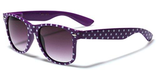 Polka Dot Retro Fashion Wayfarer Sunglasses - 100% UV400 - - Cheap Sunglasses Purple