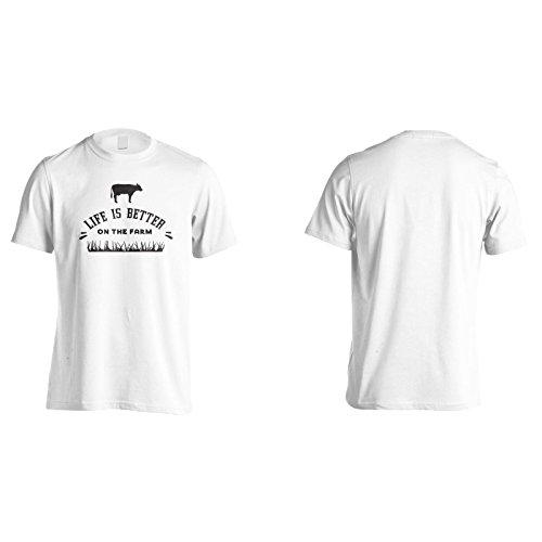Das Leben Ist Besser Auf Dem Bauernhof Mit Kuh Herren T-Shirt n186m