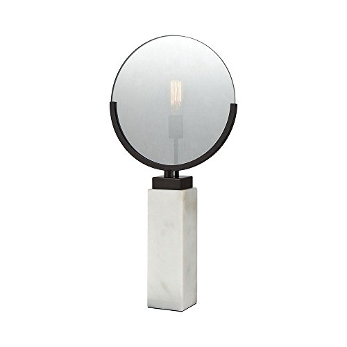 Elk Lighting 1141-070 Radio Row Table Lamp Oiled Bronze Finish, Plated Smoke Glass, White Marble Base