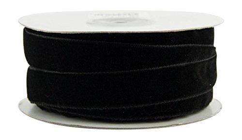 Ribbon Bazaar Polyester Woven Velvet 1-1/2 inch Black 10 Yards 100% Polyester Ribbon from Ribbon Bazaar