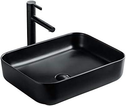 洗面ボウル カウンターサークルマットブラックセラミックカウンター容器シンクアート盆地洗面用洗面所の洗面化粧台のキャビネットの上バスルーム 洗面器 (Color : Black, Size : 8034(51x39x14cm))