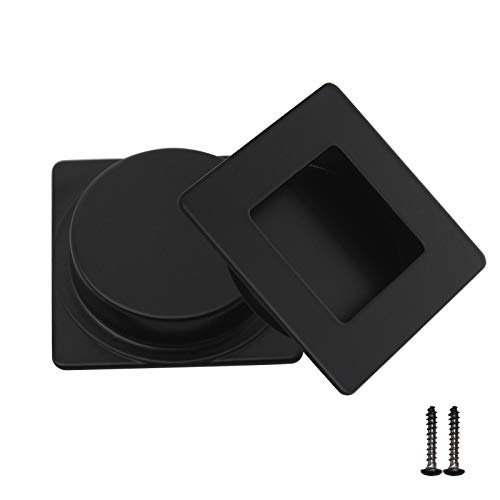 2 Pack Square Recessed Flush Door Pulls,Matte Black Finger Pulls,Metal Rectangular Recessed Pocket Door Pulls,2 inch Length Recessed Pulls