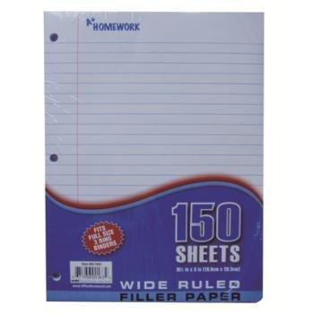 Loose Leaf Filler Paper - 150 sh.- Wide Ruled Case Pack 24 by A+Homework