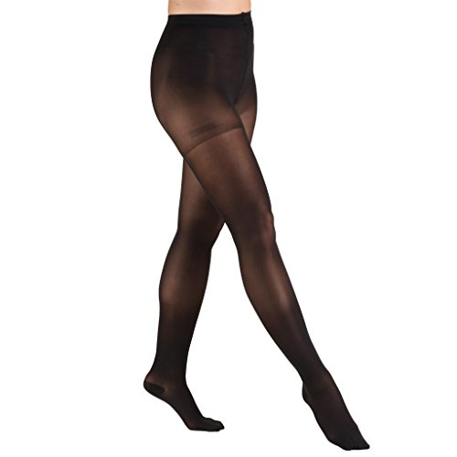 Truform Sheer Compression Pantyhose, 30-40 mmHg, Women's Shaping Tights, 20 Denier, Black, X-Large
