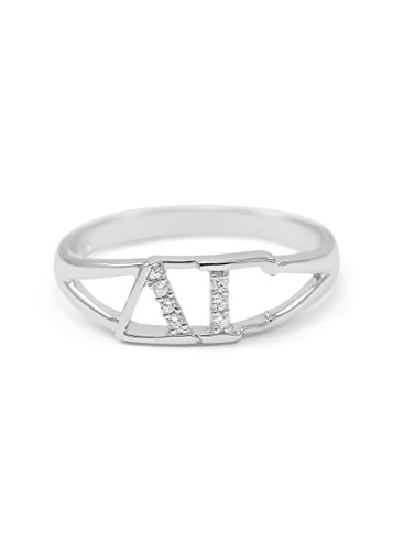 The Collegiate Standard Delta Gamma Sterling Silver Ring with CZs Size 9 ()