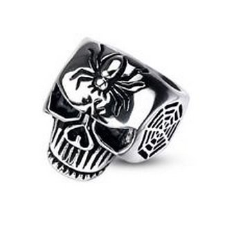 Pixxie Jewelry - 1 Pc 316L Stainless Steel Spider Web Skull Cast Men's Ring Chose Fr Sz9~Sz14 (Spiderweb Rhinestone Necklace)