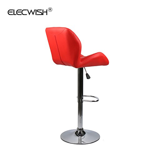 Elecwish Bar Stools Set of 2 White PU Leather Seat with Chrome Base Swivel Dining Chair Barstools (Red 2pcs) by Elecwish (Image #8)