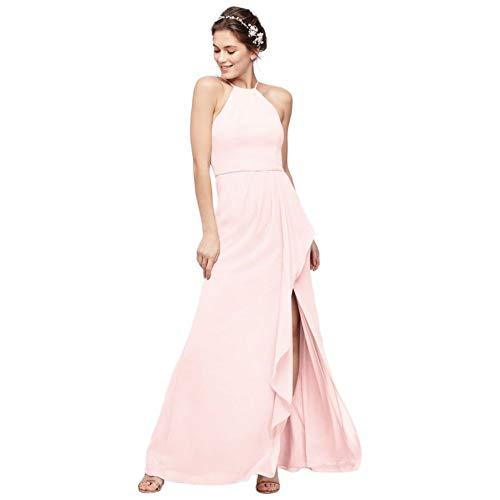 High-Neck Chiffon Bridesmaid Dress with Cascade Style F20014, Petal, 20
