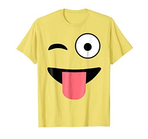 Halloween Costume Shirts Emoji Face Wink Eye Tongue T-Shirt ()