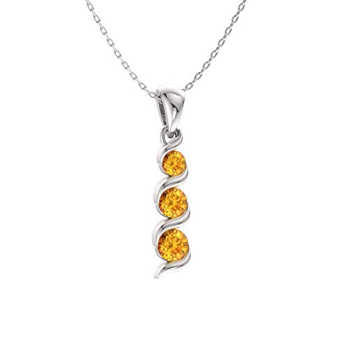 (Diamondere Natural and Certified Citrine Three Stone Necklace in 14k White Gold | 0.17 Carat Journey Pendant with Chain )