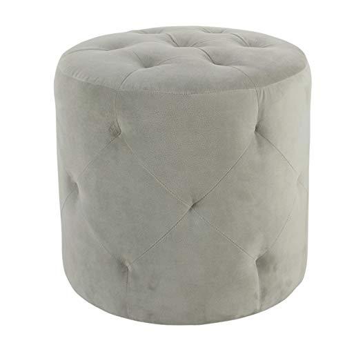 (HomePop Youth Button Tufted Velvet Ottoman, Gray )