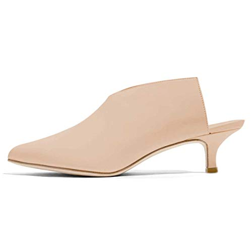 XYD Women Pointed Toe Kitten Mules Low Heels Slip On Pumps Slide Sandals Clog Shoes Size 8.5 Beige ()