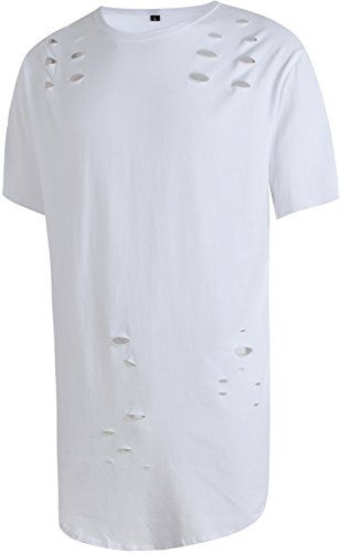 Pizoff Unisex Urban Hip Hop Hipster Damage Ripped Jersey Solid White T Shrit Y1725-White-M