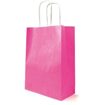 10 grandes bolsas de papel de estraza Twist mango fucsia ...