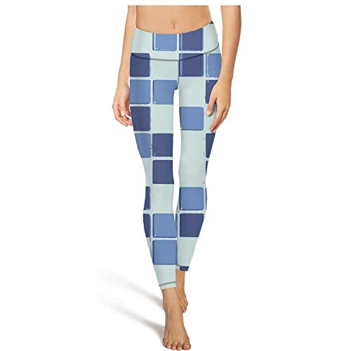 AugGThomas Womens Painting Blue Checkered Workout Running Leggings Tummy Control Fitness Yoga Pants with Pockets