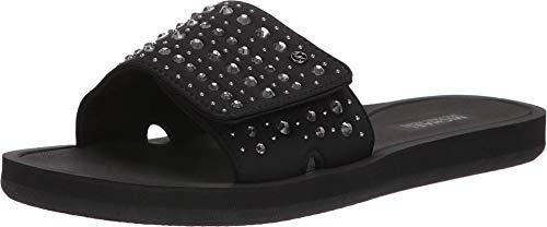 Kors Leather Michael Thongs (Michael Michael Kors Women's Pool Slide Sandals Embellished Black Size 8)