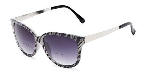 Readers.com   The Penelope Bifocal Reading Sunglasses +1.50 White Zebra/Silver with Smoke Cat Eye Women's Full - Cat Zebra