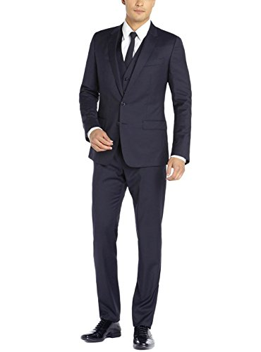 Valentino 2 Piece - Gino Valentino Men's Two Button Jacket 3 Piece Flat Front Pants Vested Suit (36 Regular US / 46R EU/W 30