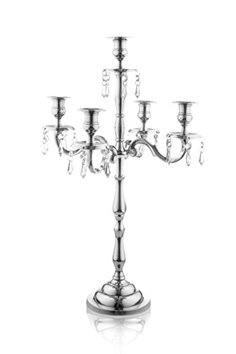Klikel Heritage 24 Inch Silver 5 Candle Candelabra With Crystal Drops - Classic Elegant Design - Wedding, Dinner Party And Formal Event Centerpiece - Nickel Plated Aluminum, Dangling Acrylic - Drop Vintage Crystal