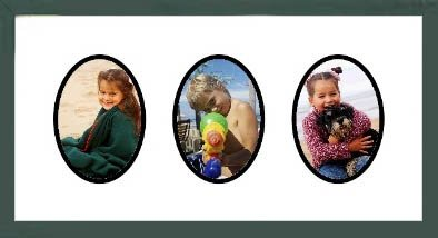 (Green Shaker Collage Picture Frame with triple oval openings for 3.5X5 photos)