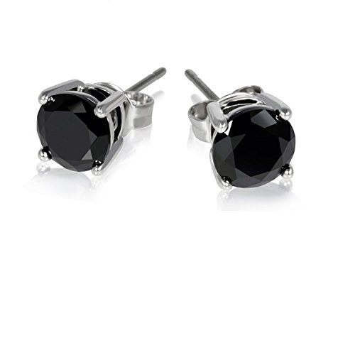 Classic Round 3.50 Carat Natural 7mm Black Spinel Gemstone Studs In 925 Sterling (Black Spinel Gem)