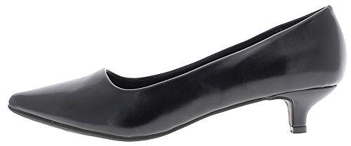 ChaussMoi Escarpins Grande Taille Noirs Brillants Pointus à Petits Talons DE 4,5 cm