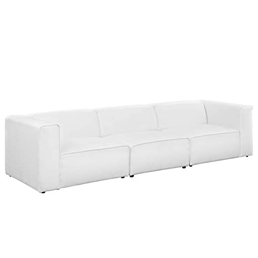 Living Room Modway Mingle Contemporary Modern 3-Piece Sectional Sofa Set in White modern sofas and couches