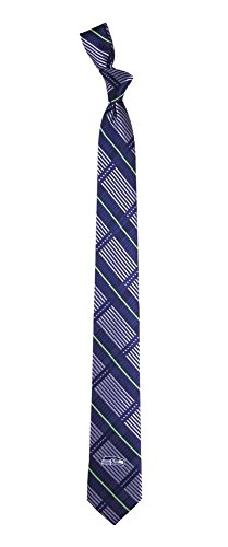 NFL Seattle Seahawks Men's Woven Polyester Skinny Plaid Tie, One Size, Multicolor