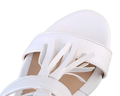 Sandales Couleur AalarDom à Correct TSFLH007659 Blanc Femme Cuir Boucle Talon PU Unie z7OCq7