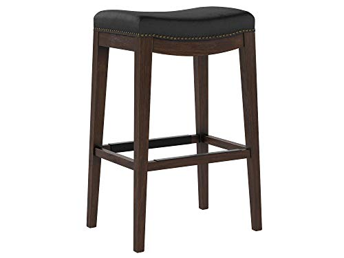 Stone Beam Kari Nailhead Trim Saddle Kitchen Counter Backless Bar Stool, 29.9 Inch Height, Black Leather, Wood