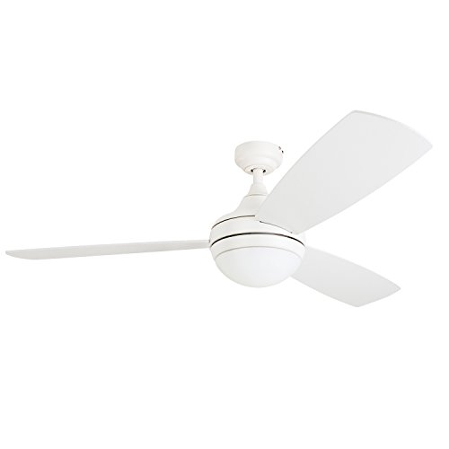 Prominence Home 80034-01 Calico Modern/Contemporary LED Ceiling Fan with Remote Control, 52 inches, Energy Efficient, Cased White Integrated Light Kit, White by Prominence Home