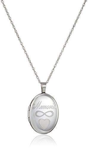 "Sterling Silver Oval""Memories"" Locket Necklace, 18"""