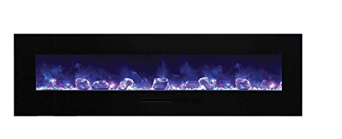 Amantii WM-FM-72-8123-BG-ICE Wall Mount/Flush Mount Series Electric Fireplace with Ice Media Kit, 72-Inch