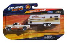 k and Trailer Series 1:64 scale Metal Diecast Vehicle - Ford F-150 Ranger with Trailer and Tractor - Marked